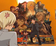 Amuro is peeved that Conan is posing with Akai in front of their movie display where he is to be heavily featured! Lol, he really has it in for poor Shuichi, doesn't he? Magic Kaito, Super Manga, Bourbon, Kaito Kuroba, Detective Conan Wallpapers, Kaito Kid, Amuro Tooru, Detektif Conan, Kudo Shinichi