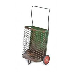 Late 1940's vintage american industrial freestanding weathered green enameled steel mesh mobile shopping cart with bent steel rod handle.