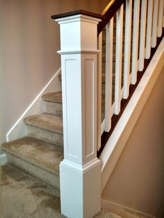 55 Recessed Flush Panel Box Newel Post Primed by RedClayWoodworks, $325.00  On Etsy  This one is 7""