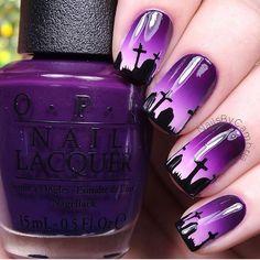 Nailsbycambria graveyard headstone cemetery sunset gradient purple halloween sunrise dusk dawn scary creepy nail art nails