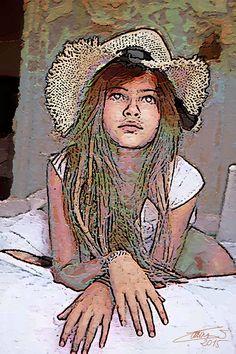 La niña del gorro de paja - Autor Luis Cebrián - 2015 - 50x60cm - Pintado sobre lienzo. Disponible.