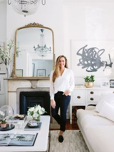 I love the large gold mirror above the fireplace. The Everygirl Cofounder Alaina Kaczmarski's Greystone Home Tour Home Living Room, Living Room Designs, Living Room Decor, Living Spaces, Living Room Inspiration, Home Decor Inspiration, Design Inspiration, Design Ideas, Blog Design