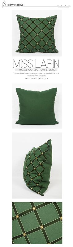 MISS LAPIN新古典/样板房高档靠包抱枕/墨绿色菱格手工铆钉方枕 /布艺-淘宝网