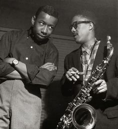 Lee Morgan and Johnny Griffin at Griffin's A Blowin' Session  Hackensack NJ, April 6 1957  see more @ https://www.facebook.com/photo.php?fbid=537098869707926&set=t.100002234540944&type=1&theater