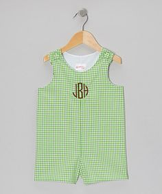 Take a look at this Green Gingham Monogram Shortalls - Infant & Toddler by Lollypop Kids Clothing on #zulily today!