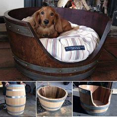 Wine Barrel Bed for your fur friends~