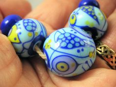 Tapestry pattern pale blue lampwork / glass bead set   - SRA Polymer Clay Beads, Lampwork Beads, Jewelry Making Beads, 3 Things, Bead Art, Unique Art, Glass Beads, Blue And White, Tapestry
