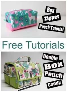 VIDEO and step by step written tutorial for how to sew this double zipper pouch box caddy. Zipper pouch sewing pattern and then a wrap around caddy to carry your matching zipper pouches. Bag sewing…More Bag Patterns To Sew, Sewing Patterns Free, Free Sewing, Dress Patterns, Duffle Bag Patterns, Coat Patterns, Sewing Basics, Sewing Hacks, Sewing Tutorials