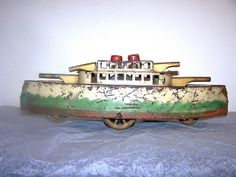 old toy boats | 1920's antique dayton hill climber toy boat pressed steel tin toys ...