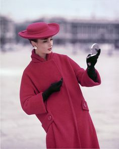 Girl in Red at the Concorde Place, for ELLE Winter Collection, Paris 1957