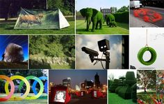Art-life: Green-themed, organic art installations placed around treehouses including topiary.