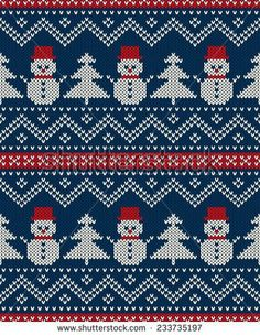 Winter Holiday Seamless Knitted Pattern with Snowman and Christmas Tree. Festive Sweater Design - stock vector