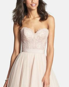 The prettiest pale pink dress. Love the sweetheart lace corset top...
