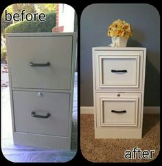 Update a plain, boring gray metal filing cabinet with chalk paint and 8x10 frames! (No link, just photo for inspiration)