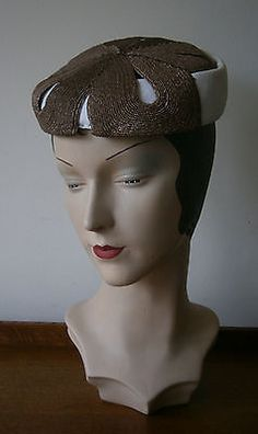 Vintage #1950's  #white & coffee pill box #cocktail hat wedding party,  View more on the LINK: http://www.zeppy.io/product/gb/2/301867199654/