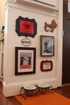 I like this for their dining area.  Frame and use the Golden at the Museum print and the Bark Less Wag More sticker to start with.