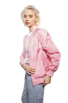Monochromatic Bomber Jacket in Baby Pink