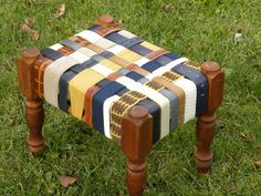 Leather BeltArt Footstool made with Recycled Belts - w Navy and Tan.
