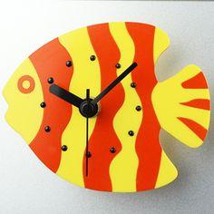 Fridge Magnetic Blue Angelfish Mini Clock - Home Decor