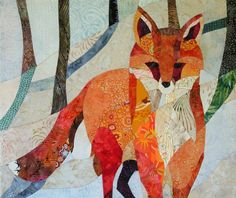 Red Fox in the Snow - Quilt Fabric Art - CCollier Studio $680.00