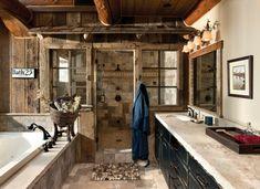 Die rustikalen Badezimmer sind großartig! Normalerweise sind solche Badezimmerdesigns sehr teuer. Da man diese Badezimmermöbel aus... Holz im Badezimmer