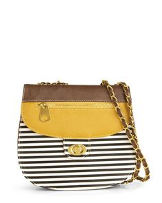 leather & striped crossbody bag