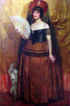 Souvenirs de Séville – Dolores del Rio (1926). Theodore N. Lukits (1897-1992). Oil on canvas. Lukits became known for his portraits of early Hollywood figures Theda Bara, Pola Negri, Mae Murray and Alla Nazimova. This portrait Lukits painted of the Mexican actress Dolores del Río, who is shown in the dress worn for her presentation to the Spanish Court, was exhibited at the premiere of one of her films and reproduced in newspapers in Los Angeles and Mexico City.