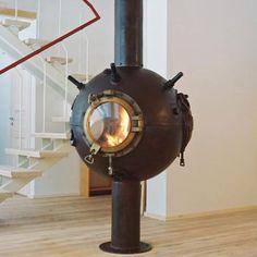 Repurposed sea mine, coolest fireplace ever