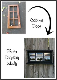 This photo display shelf was made using an old cabinet door and some chair spindles. I love how you can display pictures or remove the backing. MyRepurposedLife.com