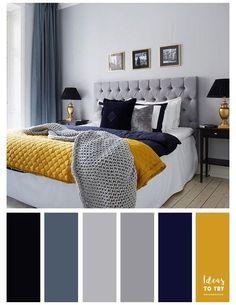 Grey Bedroom Colors, Navy Blue Bedrooms, Blue Bedroom Decor, Bedroom Color Schemes, Gray Bedroom, White Bedroom Furniture, Modern Bedroom, 60s Bedroom, Master Bedroom