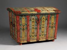 Swedish painted chest in folk art style