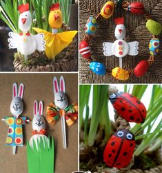 Look at these super adorable spring decors! They was made with ordinary plastic spoons! This time Krokotak's and this step-by-step craft tutorial will teach you how to make these adorable spring decors : the rabbit, chick, ladybug . Paper Flowers Roses, Paper Flower Wreaths, Flower Crafts, Easter Wreaths, Spring Crafts For Kids, Holiday Crafts For Kids, Easter Crafts For Kids, Diy Paper Christmas Tree, Dance Crafts