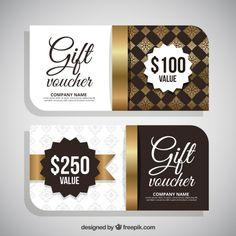 Elegant golden gift coupons Free Vector
