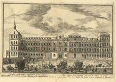 18th century. Print view of Alcazar of Madrid by Pieter Van der Berge