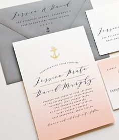 NEW Jessica Coral Ombre Nautical Wedding Invitation with Gold Foil Stamped Anchor and Gorgeous Calligraphy Script