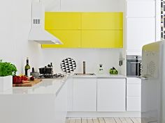 New kitchen cabinets require study and research, because they cost so much. Learn about new kitchen cabinets. Yellow Kitchen Cabinets, Kitchen Cabinet Colors, Painting Kitchen Cabinets, Kitchen Colors, Teal Cabinets, Kitchen Walls, Yellow Kitchen Accents, Yellow Kitchen Decor, Yellow Accents