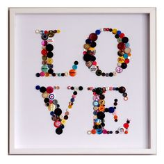 Shop for Handmade Love Button Art from our Home Décor range. This truly unique button art work piece is made to order using handpicked buttons & badges. Crafts To Make, Fun Crafts, Crafts For Kids, Arts And Crafts, Button Frames, Button Letters, Button Button, Kunstjournal Inspiration, Love Frames