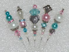 Set of 5 Handmade Shabby Stick Pins for Cards Albums by alva1973, $5.00