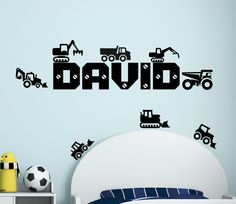 Personalised Name Boys Wall Art Sticker - Lorry, Trucks, Tractor, Digger, JCB