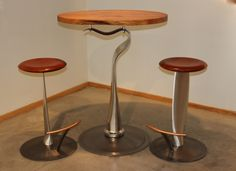 De Haviland bar table and Propeller stools made from salvaged aviation parts by Arnt Arntzen #kozaimoderngallery kozaimodern.com