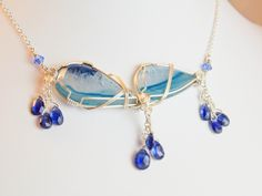 Beautiful Blue Banded Agate Wire Wrapped Necklace and Earrings Set  #handmade  #thecraftstar  $95.00