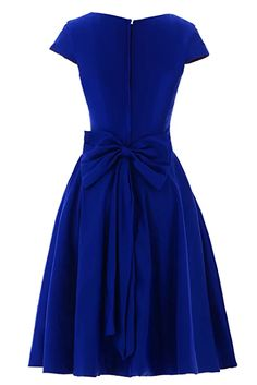 Sunvary Short Sleeves Bridesmaid Dress Evening Pageant Dress Short Size 2- Royal Blue