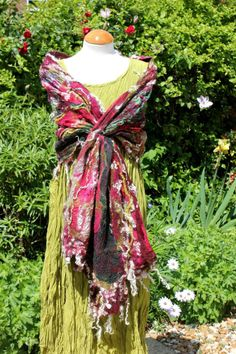 Handmade red green silk & wool Nuno felted shawl wrap Lagenlook Art to Wear. www.facebook.com/angelab5705 to see how my pieces are made and for details of special offers www.etsy.com/shop/angelab5705 to see all my current pieces for sale