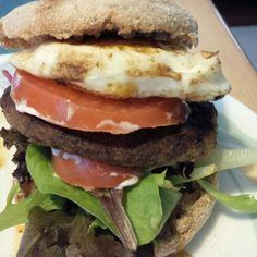 #noFilter #food #burgers this is a burger with an egg, scratch honey dijon, lettuce, tomato, on an English muffin… perspective #3