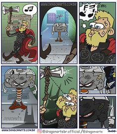 Eduardo Lucas Nascimento, known as Dragonarte, is a Brazilian comic artist. He draws Marvel and DC Comics universe in his own style Marvel Jokes, Marvel Dc Comics, Funny Marvel Memes, Funny Cartoons, Marvel Heroes, Funny Comics, Marvel Avengers, Funny Memes, Superhero Memes