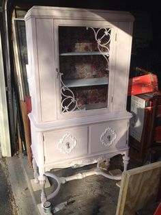 Pink China Cabinet with White Accents - I would use this as a book case or in my daughters room with bins for hair and make up accessories.  Lots of storage....pretty storage!!  $325 Daughters Room, To My Daughter, Loft Furniture, Hippie Life, China Cabinet, Repurposed, Bookcase, London, Storage