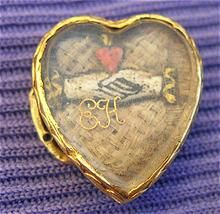 """Stuart Crystal Slide, 18K There is a Woven Bed of White Hair & on Top of That are Carved Ivory Clasped Hands, with a Heart Above the Hands. Below the Hands is the Scribe """"EH,"""" ca.1687."""