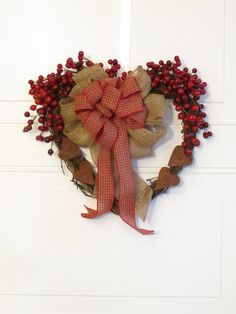 primitive valentine wreaths   Primitive Valentine Wreath, Rustic Heart, Burlap Valentine, Primitive ...