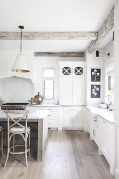 Dream Home - Fresh French Provincial by Kate Marker Interiors I like the wood beams Kitchen Dining Living, Home Decor Kitchen, Interior Design Kitchen, Living Room, Home Design, Modern House Design, Design Design, Design Trends, Design Ideas
