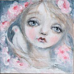 original girl dove portrait sweet painting    6X6 k d by fadedwest,